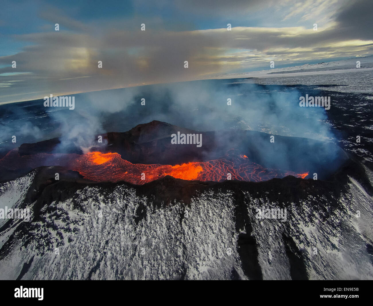 Volcano Eruption at the Holuhraun Fissure, Bardarbunga Volcano, Iceland. - Stock Image