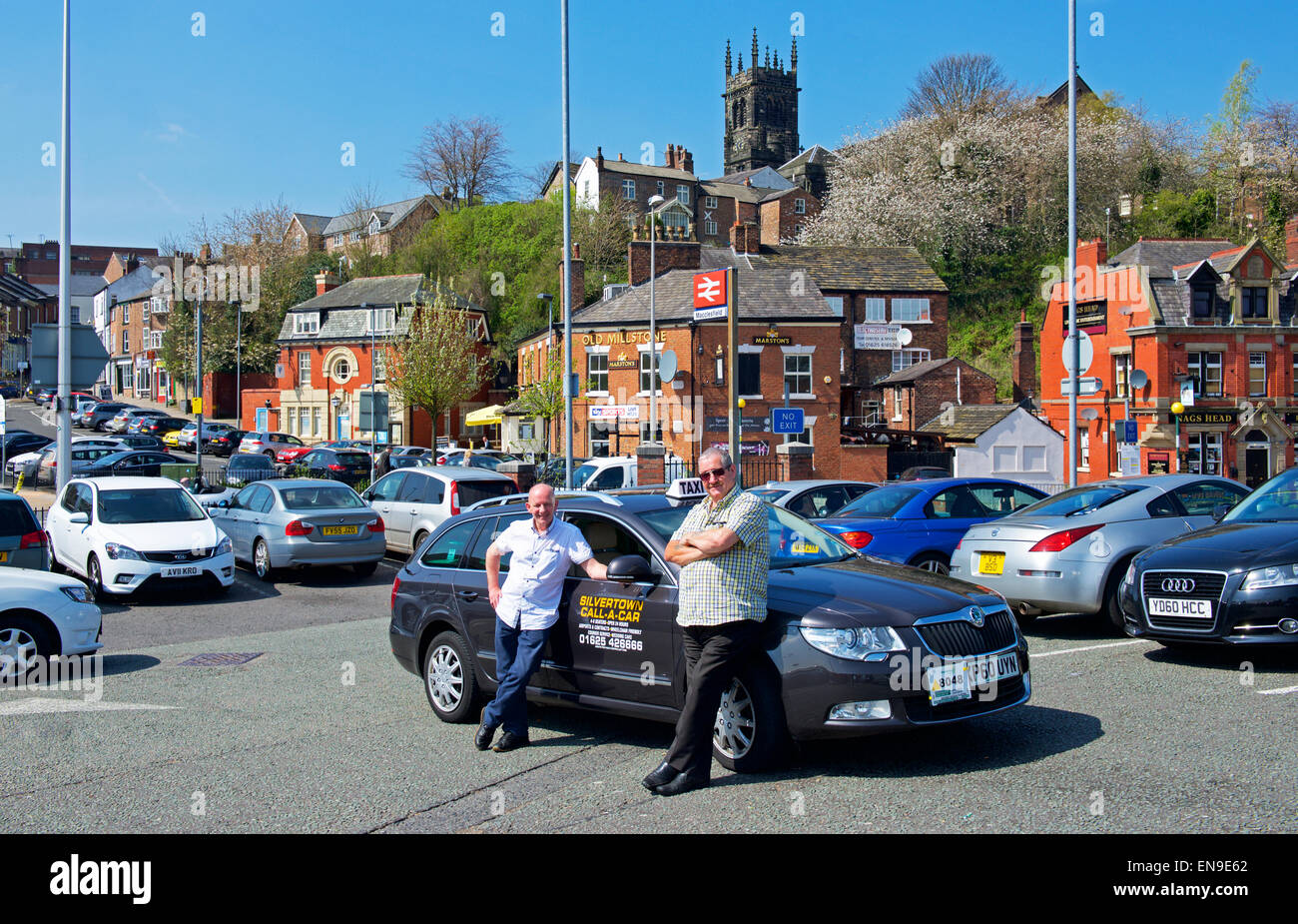 Cabbies at the taxi rank in Macclesfield, Cheshire, England UK Stock Photo