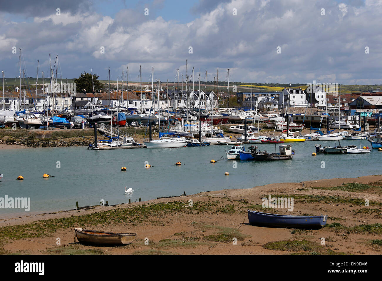 General view of Shoreham-by-Sea and the river Adur. Stock Photo