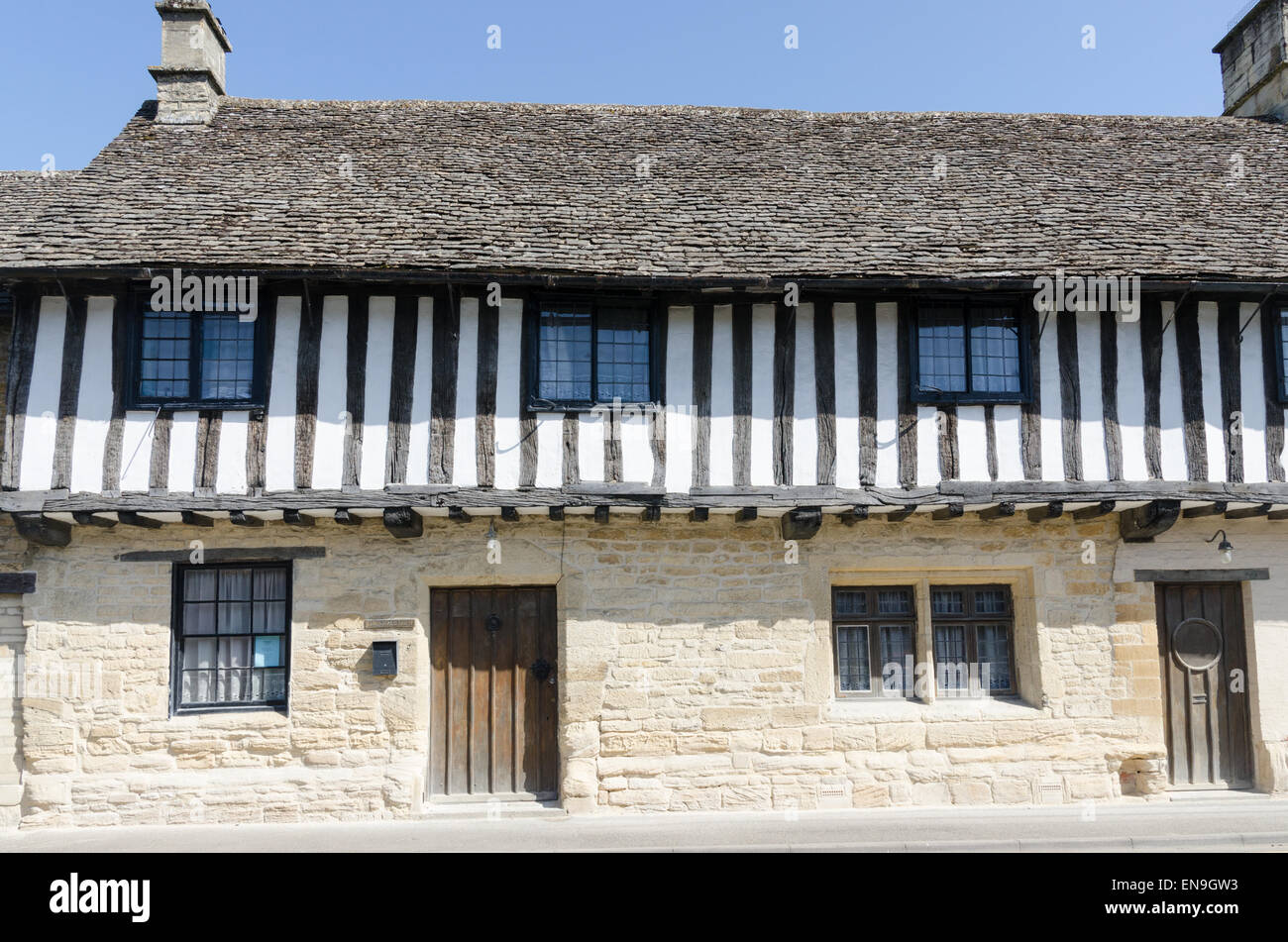 Half timber-framed houses in the Cotswold town of Northleach - Stock Image