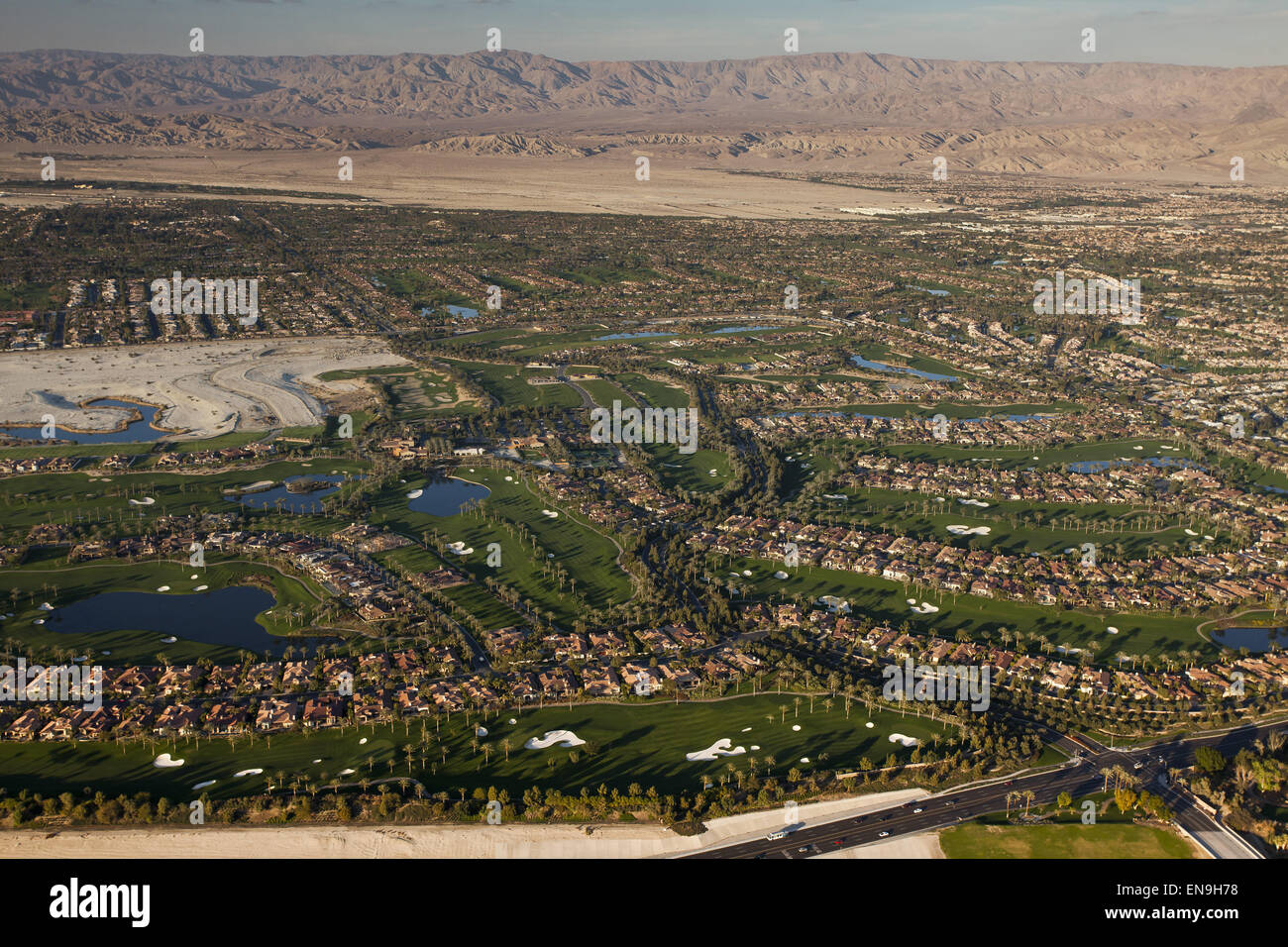 Aerial views of all the golf courses using scarce water supplies to  maintain their lush green look in drought conditions Stock Photo