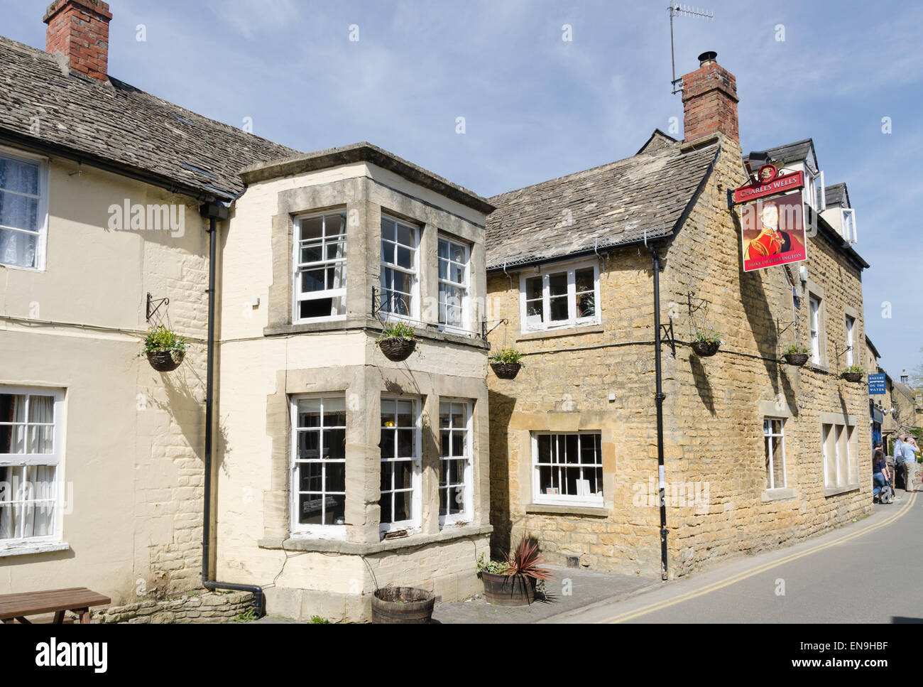 The Duke of Wellington public house in the Cotswold village of Bourton-on-the-Water - Stock Image