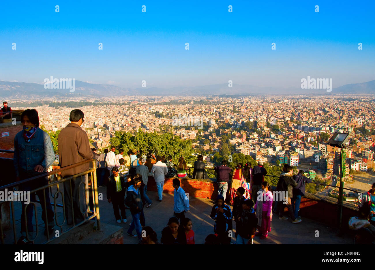The capital city, Kathmandu, is not only the largest city in Nepal, but it is the only major city in the entire - Stock Image