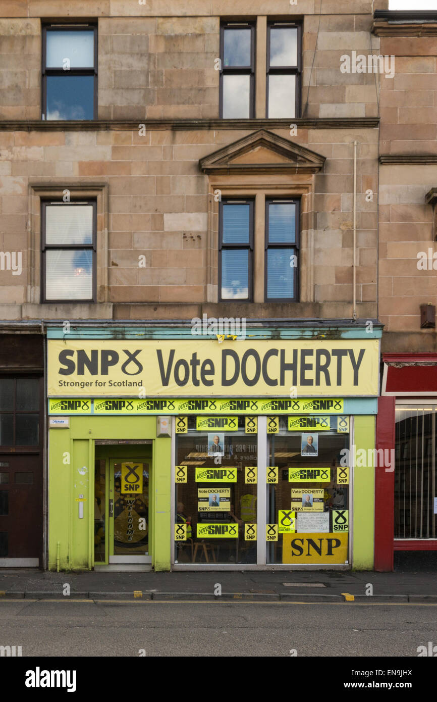 UK General Election - the SNP Hub supporting Martin Docherty as candidate for the West Dunbartonshire constituency - Stock Image