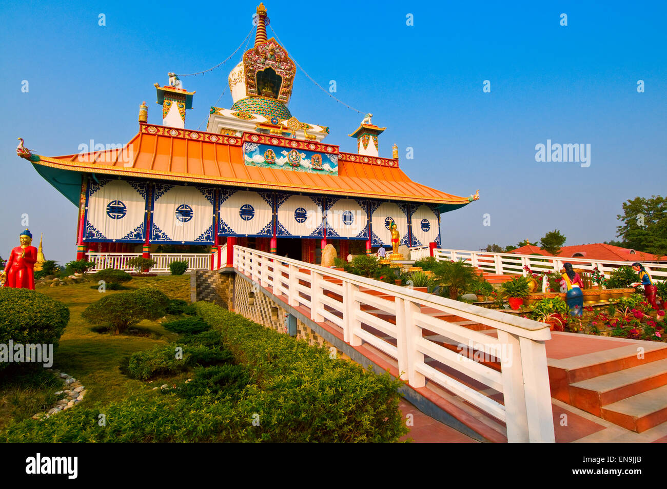 Funded entirely by an exceedingly wealthy German woman, this temple belongs to an order of monks from Kathmandu - Stock Image