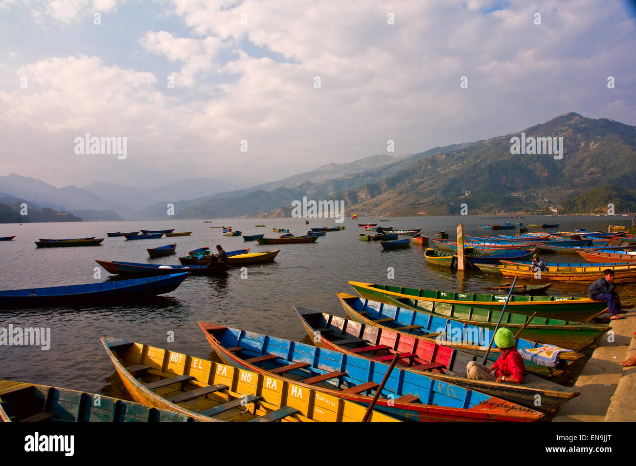 Pokhara is renowned for its setting rather than its historical or cultural endowments. Its peaceful lakeside location - Stock Image