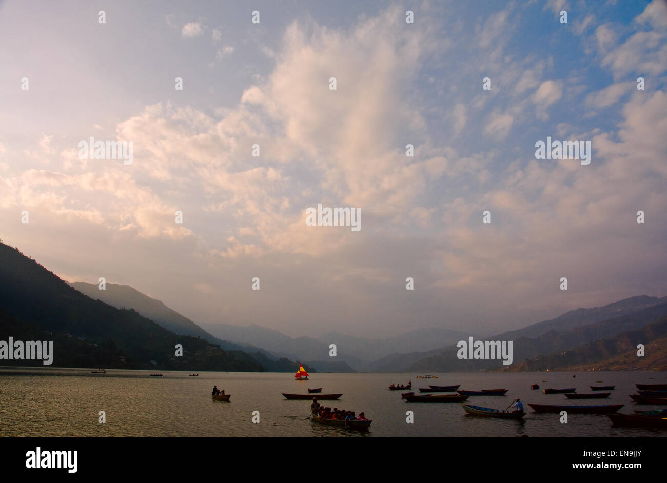 Pokhara is situated at about 827 meter from sea level, and is located 124 miles (about 200 km) west of Kathmandu - Stock Image