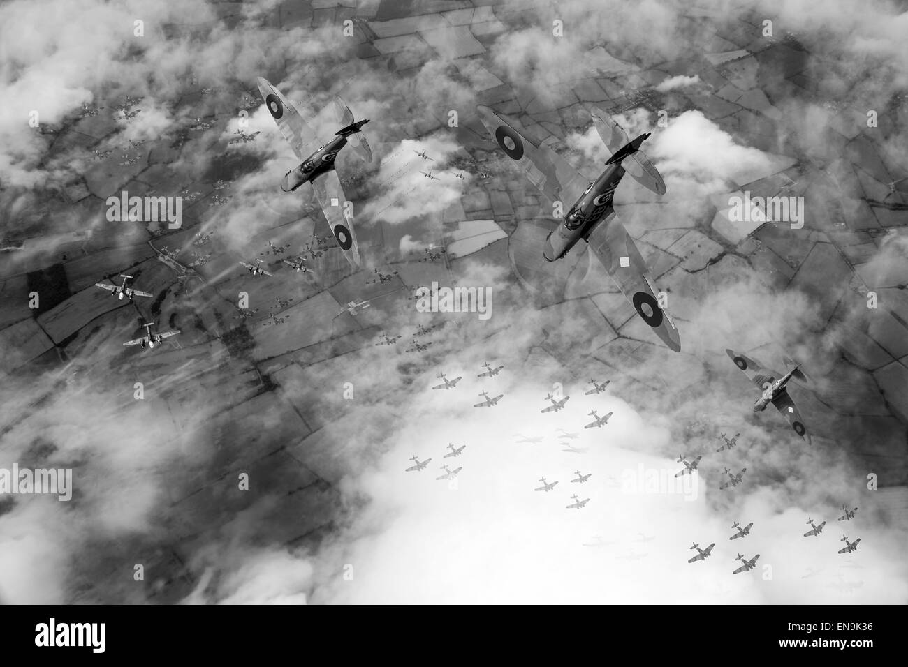 RAF Spitfires locate the Luftwaffe bomber formation they have been vectored to intercept over England in the summer - Stock Image