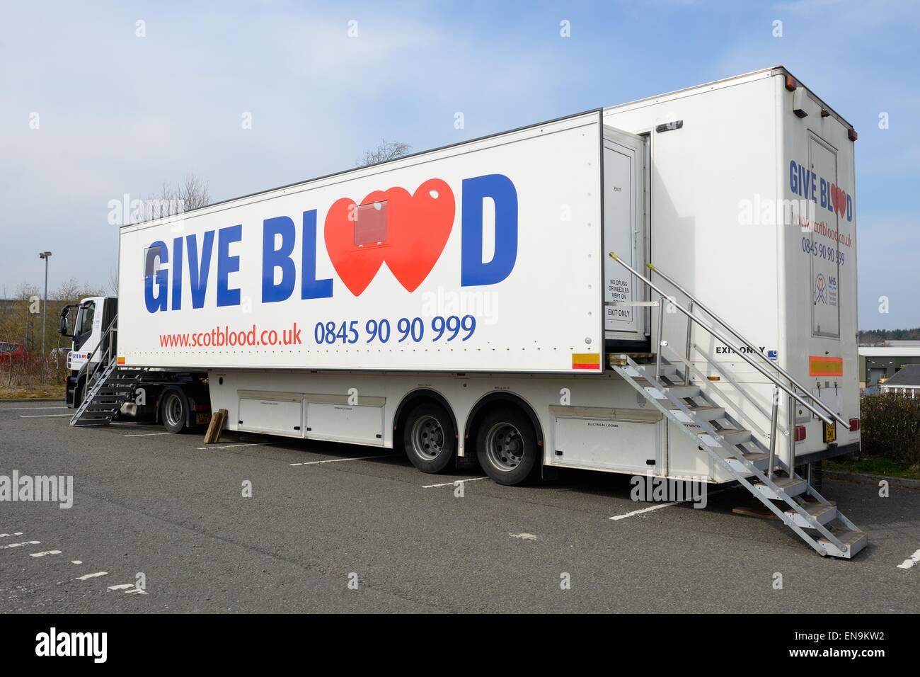Scotblood mobile blood donation unit in hospital car park in
