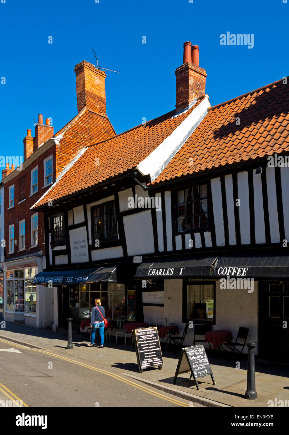 Half timbered buildings in Newark on Trent town centre Nottinghamshire England UK - Stock Image