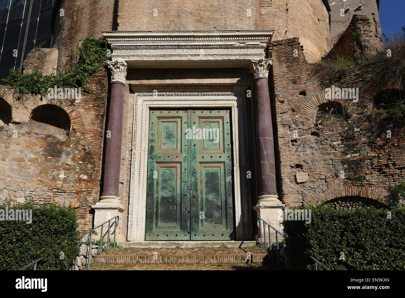 Italy. Rome. Roman Forum. Temple Of Divus Romulus. Origal Bronze Doors At