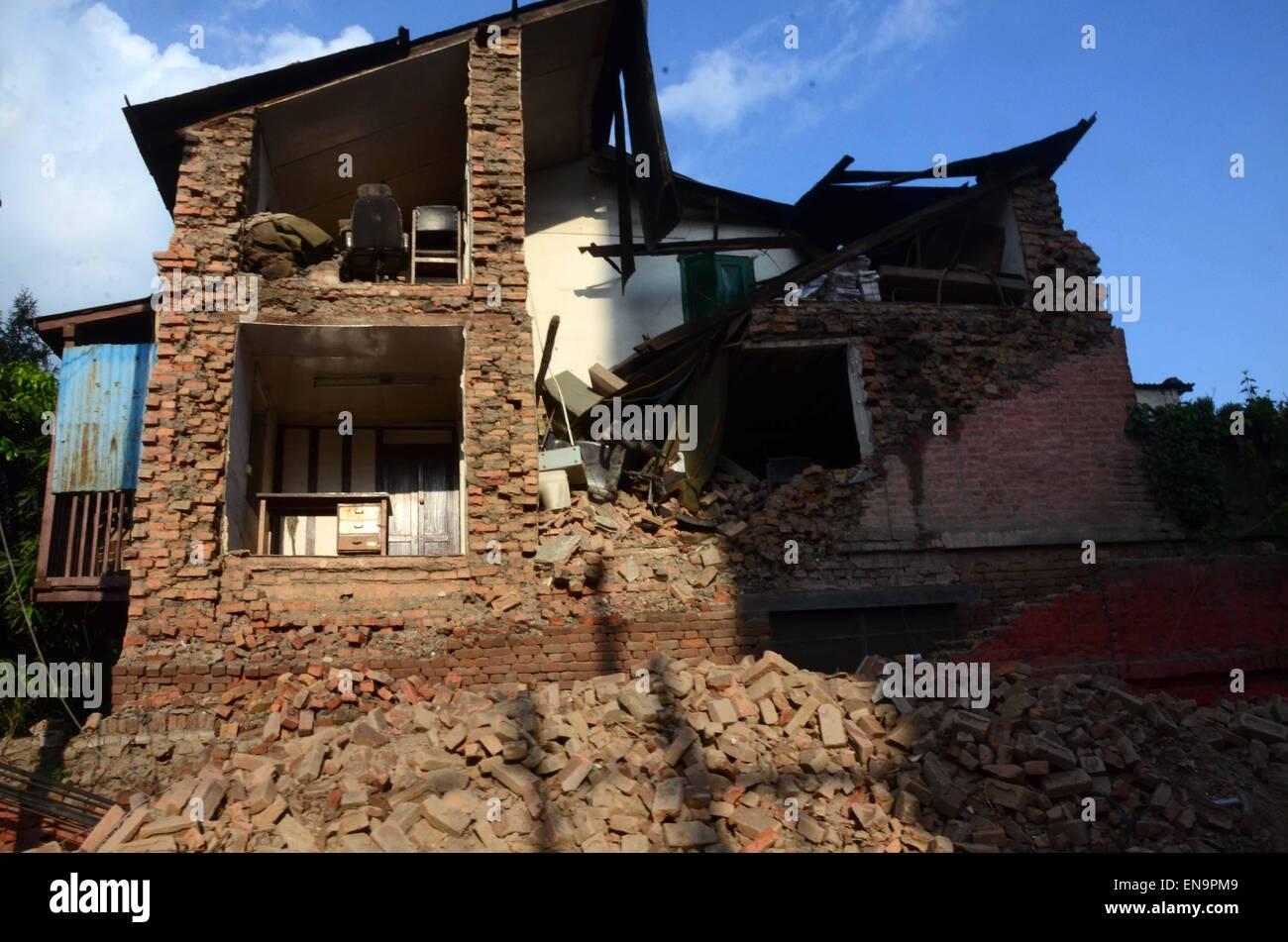 Kathmandu, Nepal  30th Apr, 2015  Many buildings and houses have