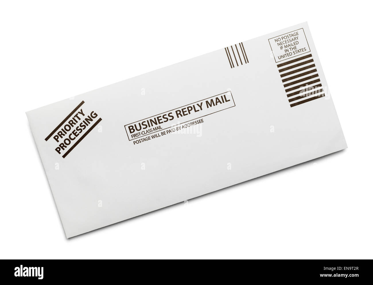 Business Reply Mail Envelope Isolated on White Background. - Stock Image
