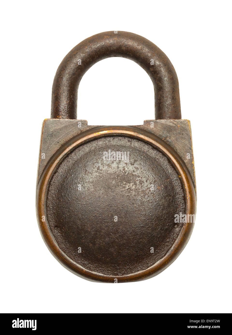 Old Brass Lock with Copy Space Isolated on White Background. - Stock Image