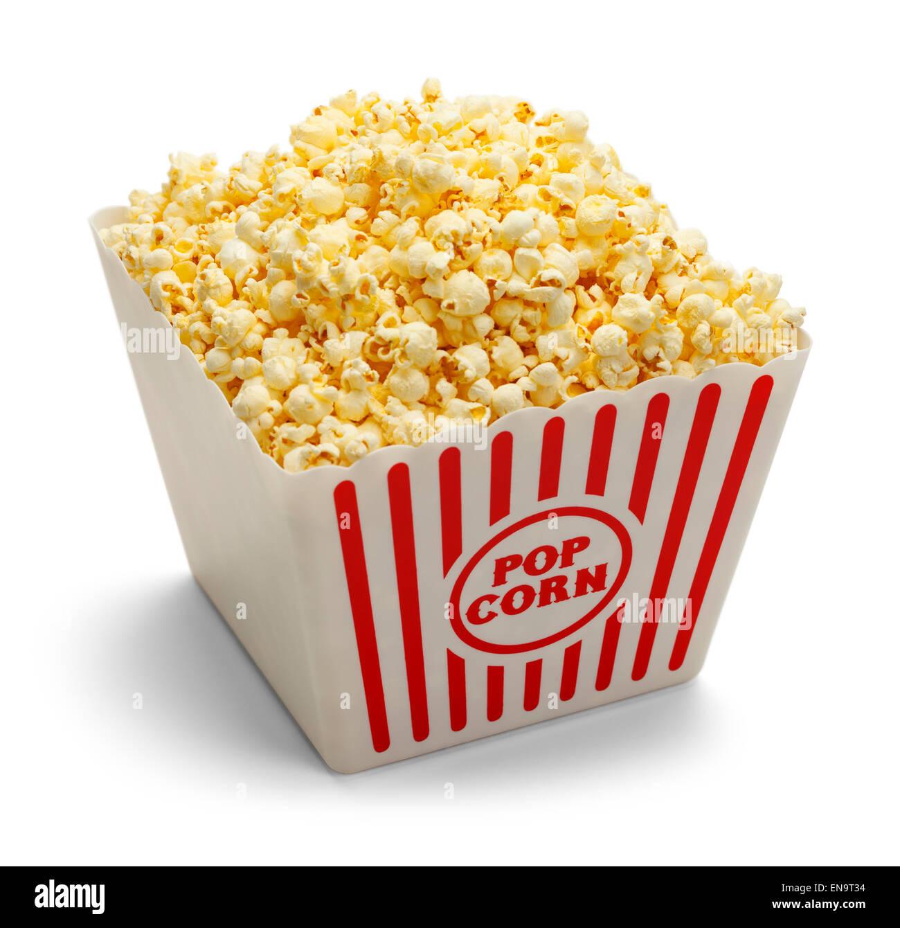 Large Tub of Butter Popcorn Isolated on White Background. - Stock Image