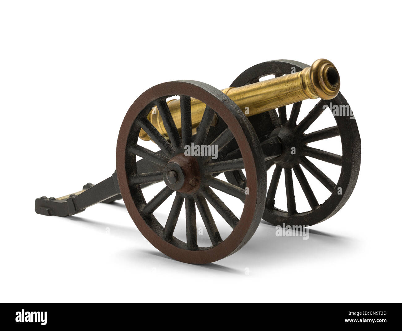 Old Civil War Cannon Isolated on White Background. - Stock Image