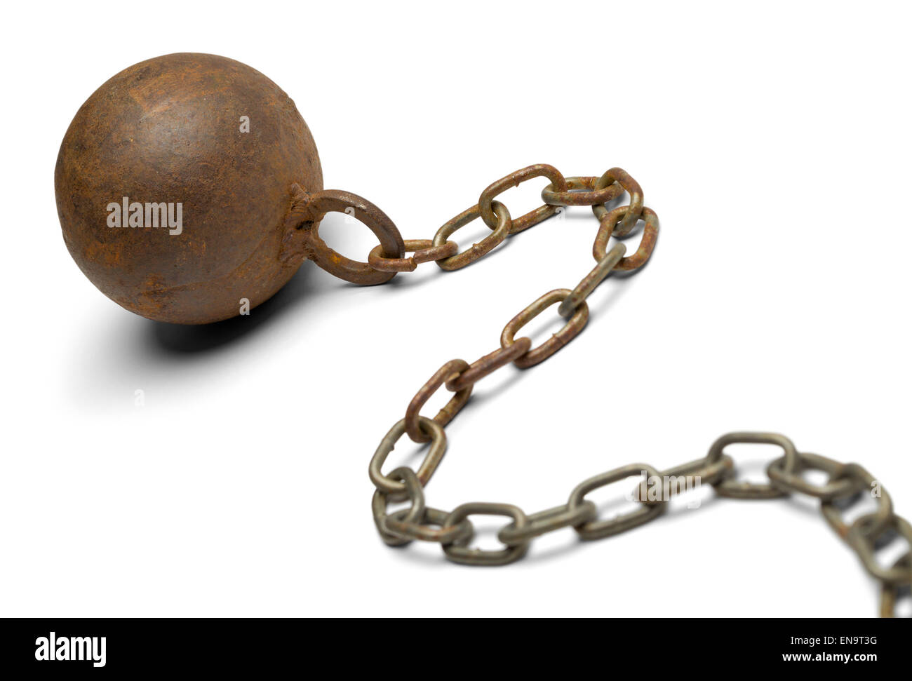 Old Rusty Ball and Chain Isolated on White Background. - Stock Image