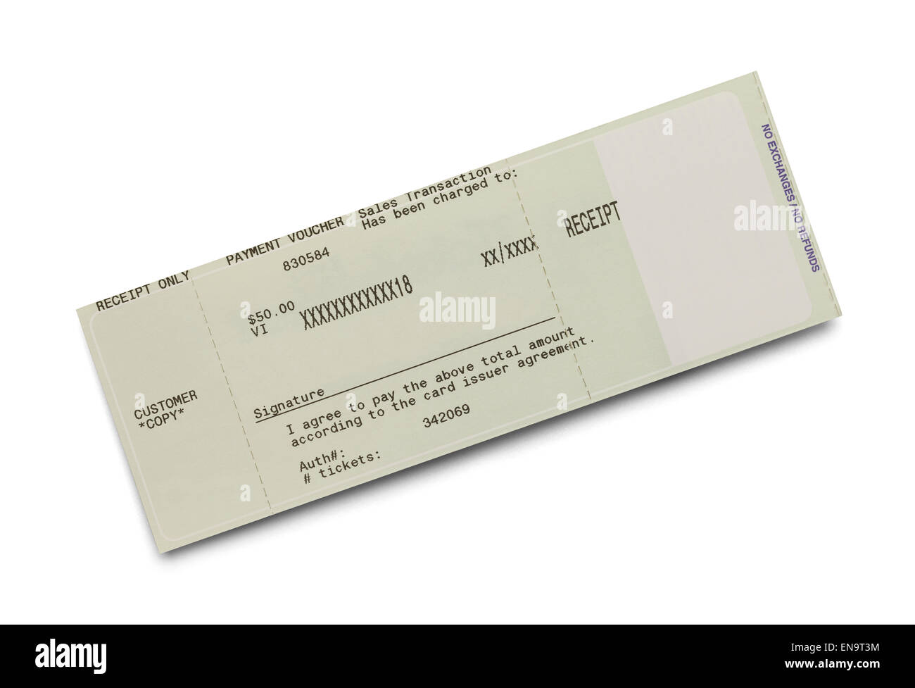 Credit Card Ticket Receipt Isolated on White Background. - Stock Image