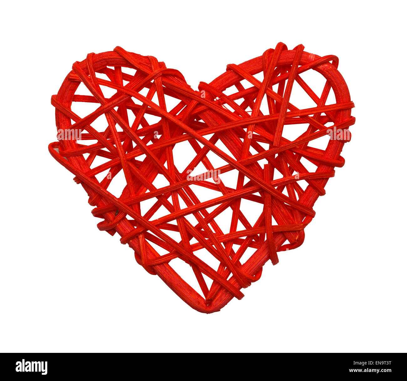 Red Wood Vine Heart Isolated on White Background. - Stock Image