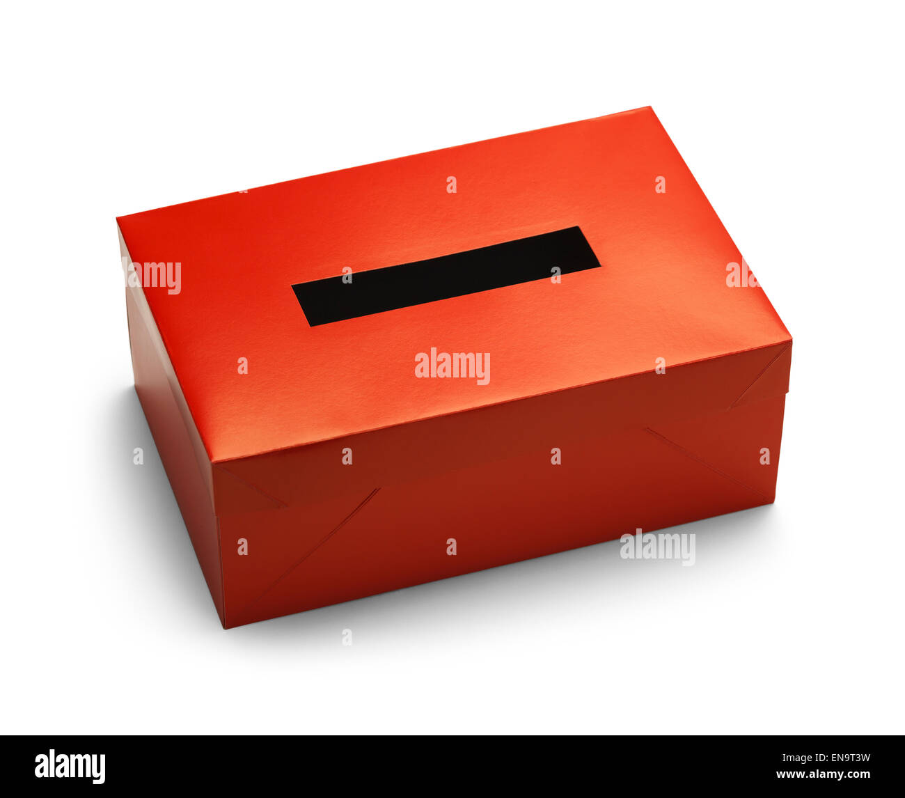 Empty Red Voting Box Isolated on White Background. - Stock Image