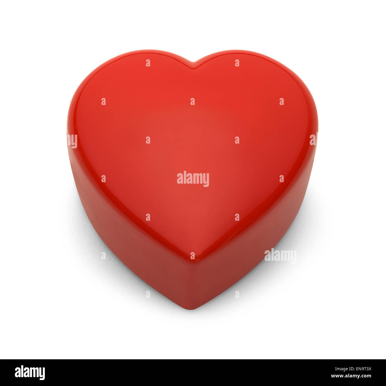 Red Plastic Heart with Copy Space Isolated on White Background. - Stock Image