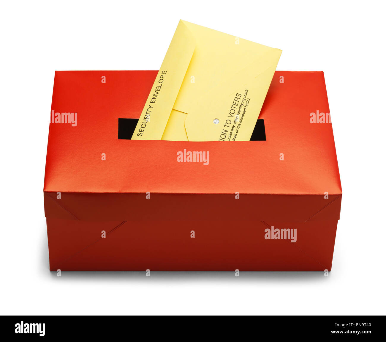 Voting Box with Security Envelope Isolated on White Background. - Stock Image