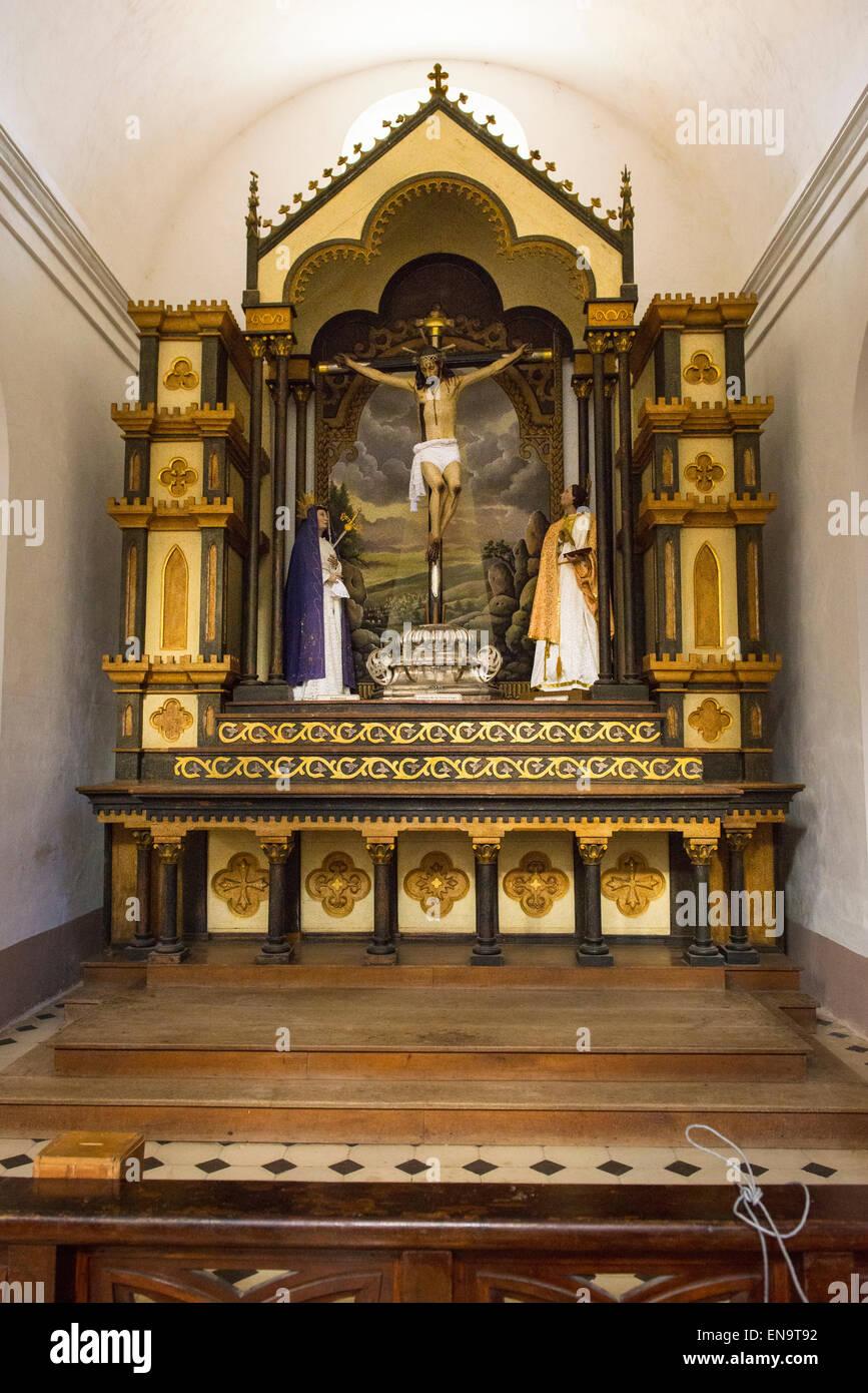 Cuba Trinidad Plaza Mayor Iglesia Parroquial de la Santisima Church of the Holy Trinity late 1800's ornate gothic - Stock Image