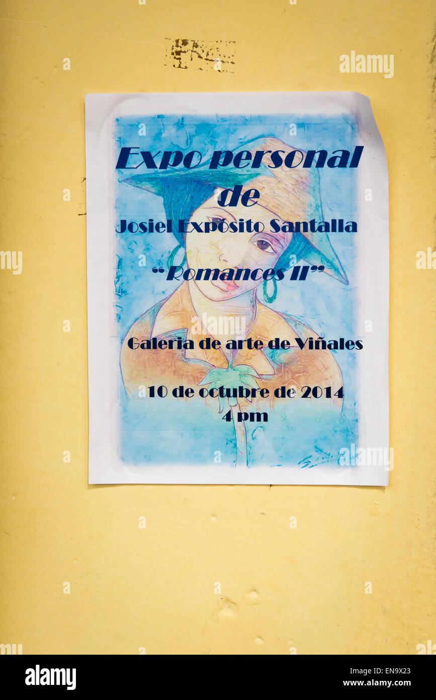 Cuba Parque Marti Casa de la Cultura Gallery Arte de Vinales art gallery exposition Josiel Expósito Santalla - Stock Image