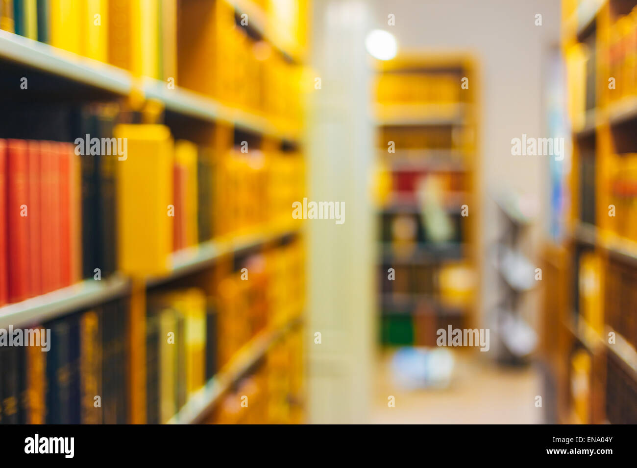 Unfocused Blurred Background Of Old Vintage Books On A Wooden Shelfs In Library. Education Concept - Stock Image