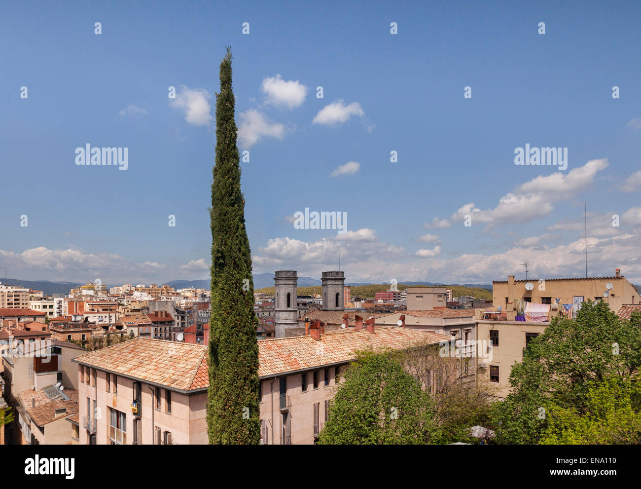 A view over the city of Girona, Catalonia, Spain. Stock Photo