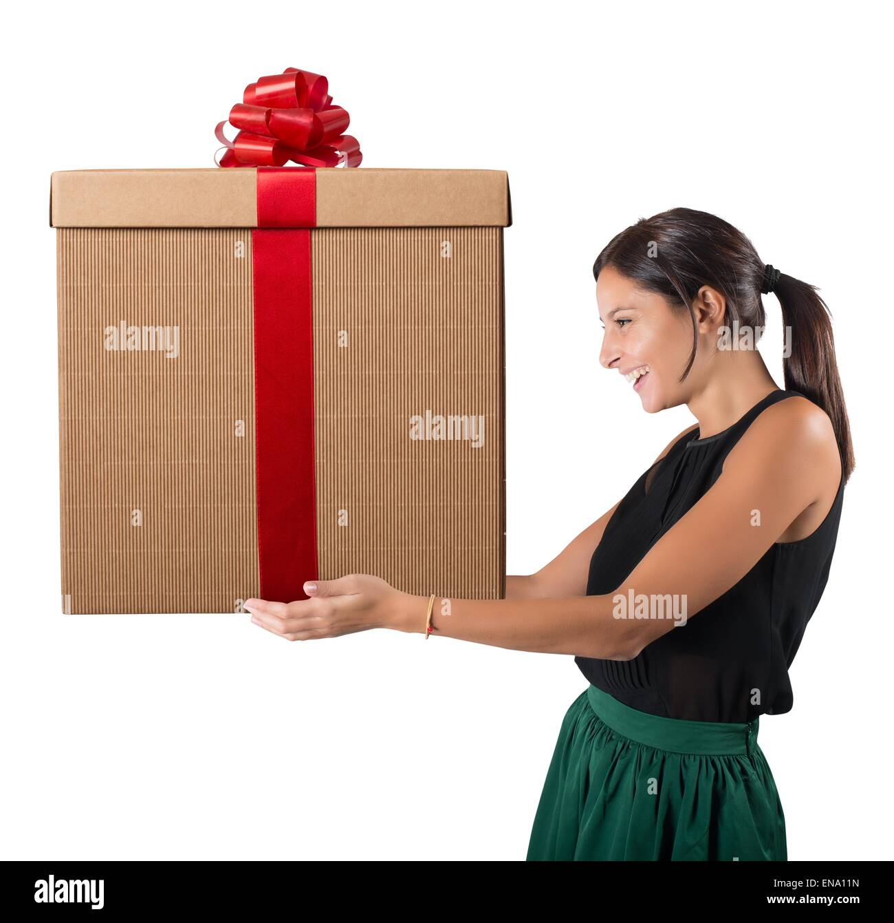Happy woman received the gift - Stock Image