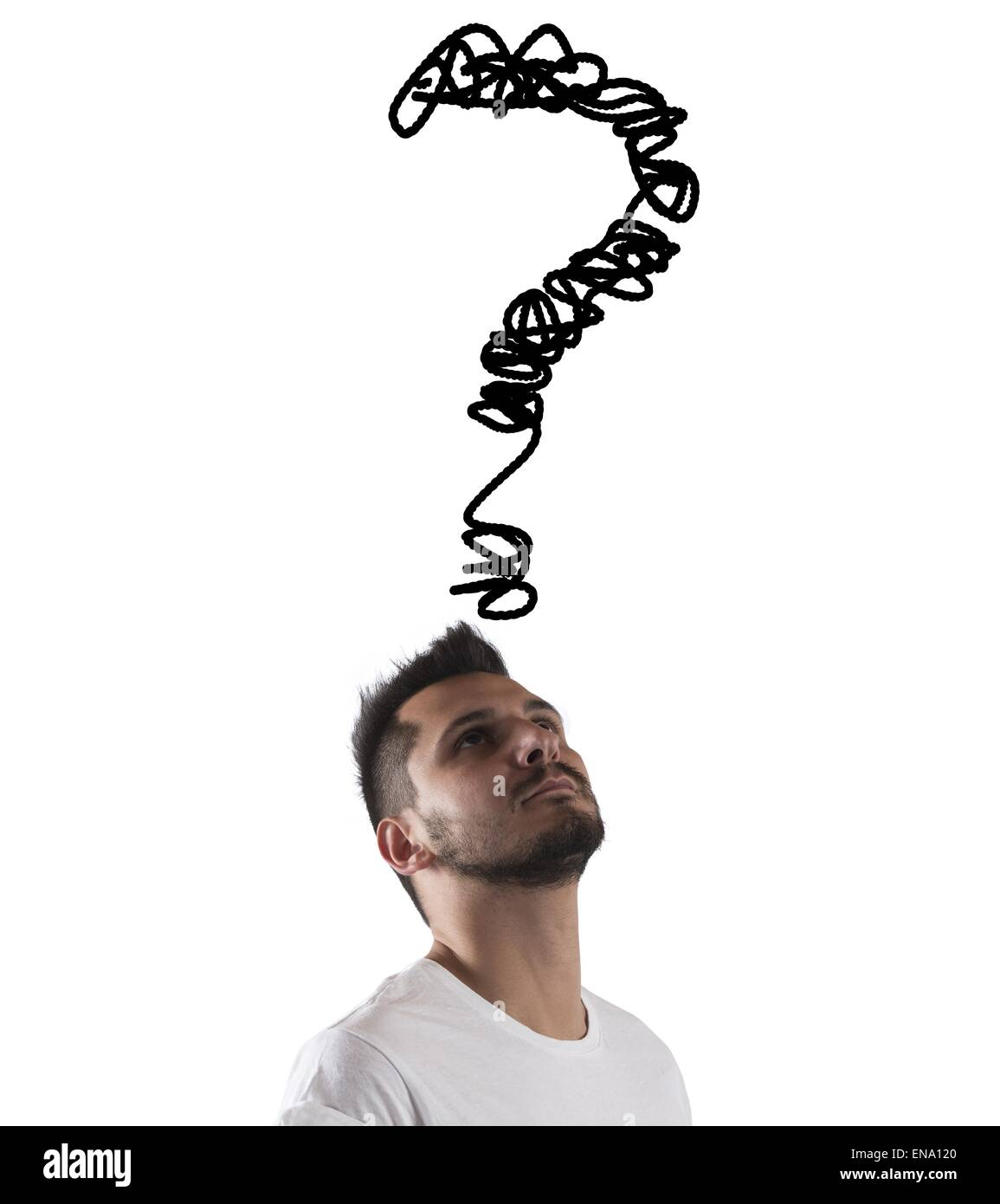 Big question on head - Stock Image