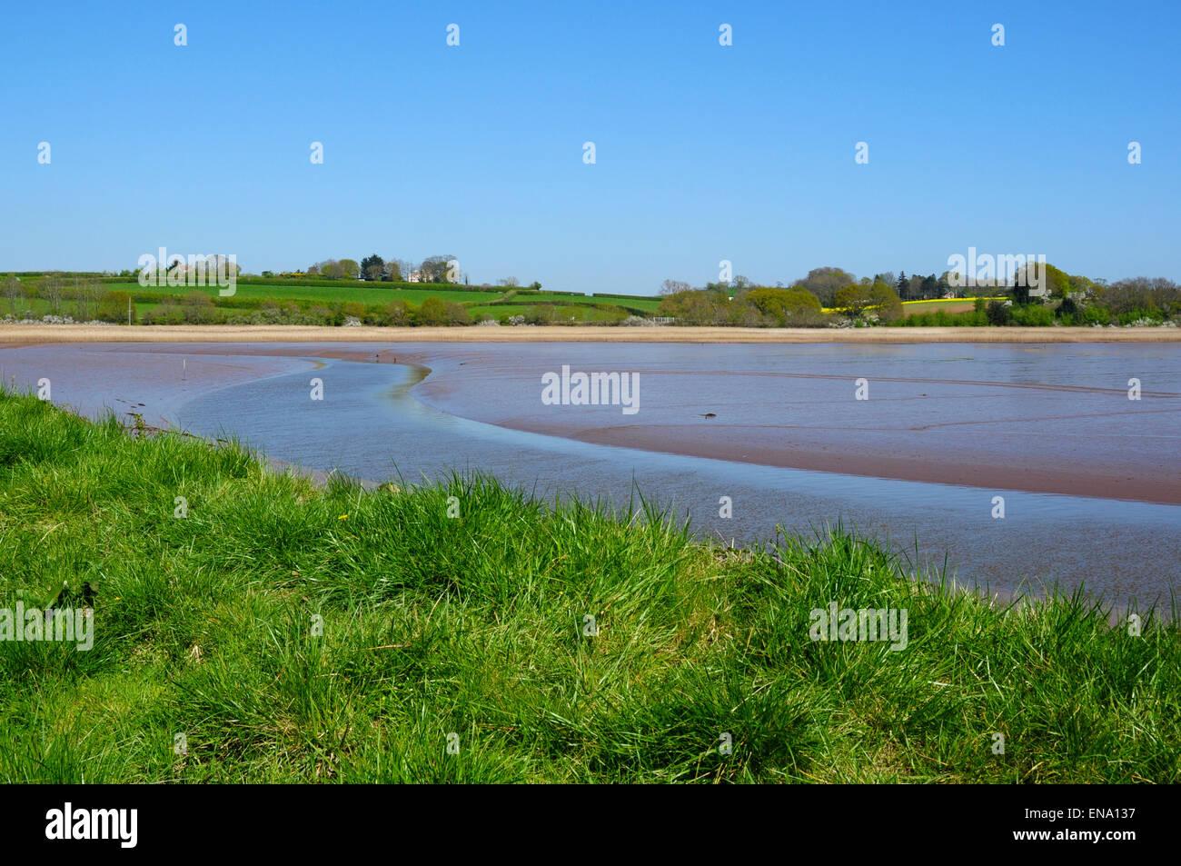 Low tide on the Rive Exe estuary, Bowling Green Marsh, Topsham, Devon, England, UK - Stock Image