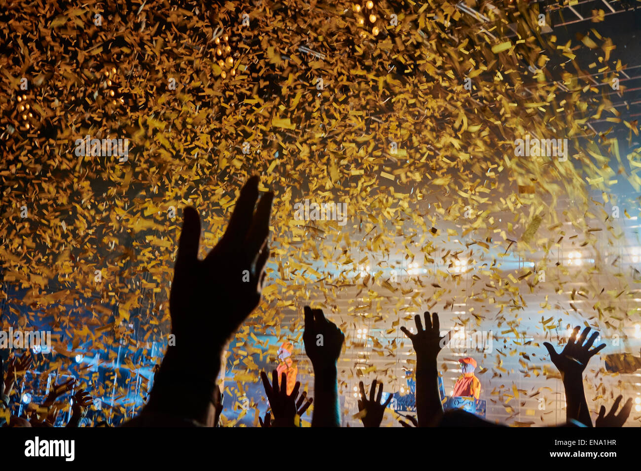 Ticker tape rains down as Pet Shop Boys bring Festival No.6, 2014, in Portmeirion, Wales to an end. Stock Photo