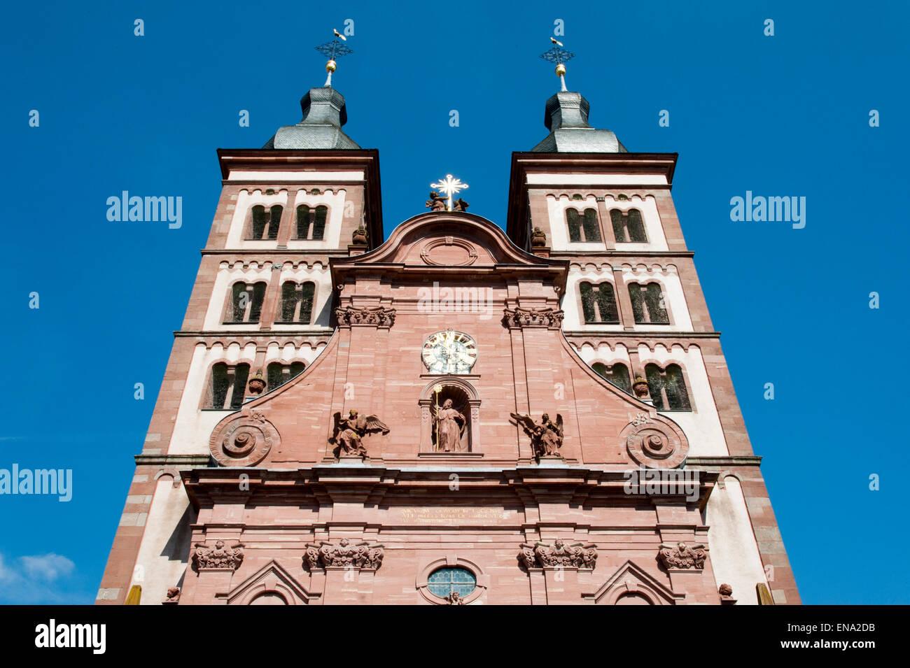 Klosterkirche Amorbach, Odenwald, Bayern, Deutschland | Amorbach monastery church, Odenwald, Bavaria, Germany - Stock Image