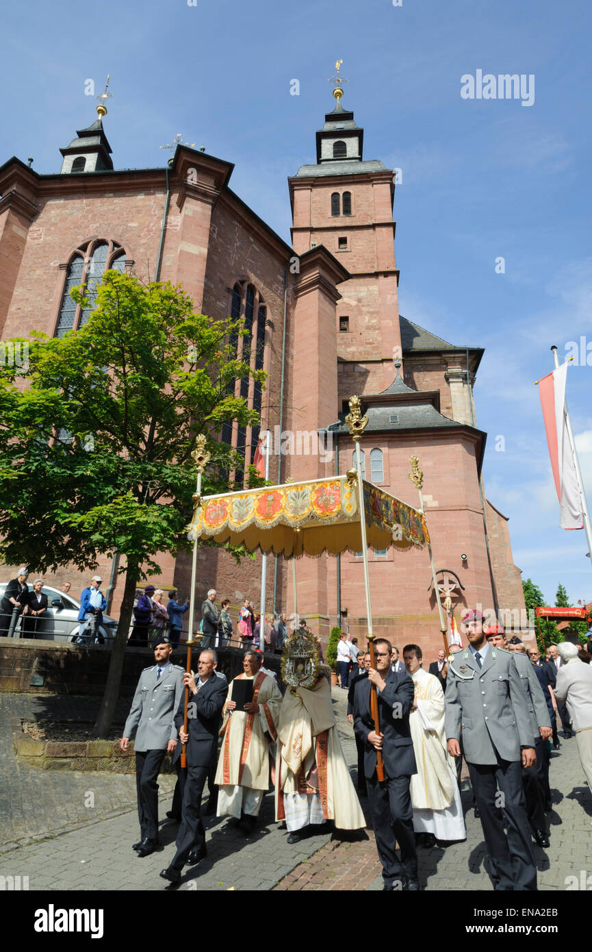 Corpus Christi procession, pilgrimage Basilica of St. George, Walldürn, Odenwald, Baden-Württemberg, Germany - Stock Image