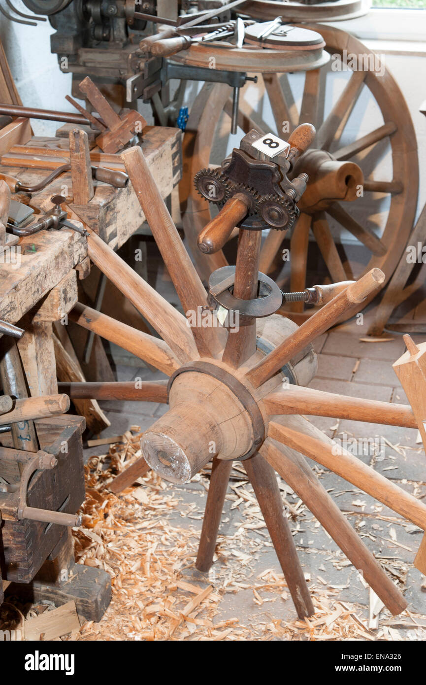 South Hessen crafts museum in the old station, Wagner Werkstadt, wheelwright, Rossdorf, Hesse, Germany - Stock Image
