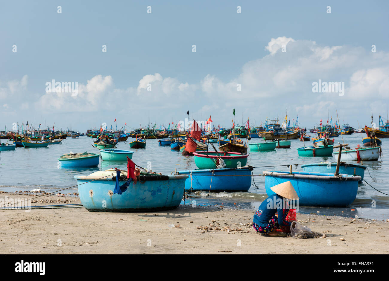 Mui Ne Fishing Village and Traditional Fishing Boats Stock Photo