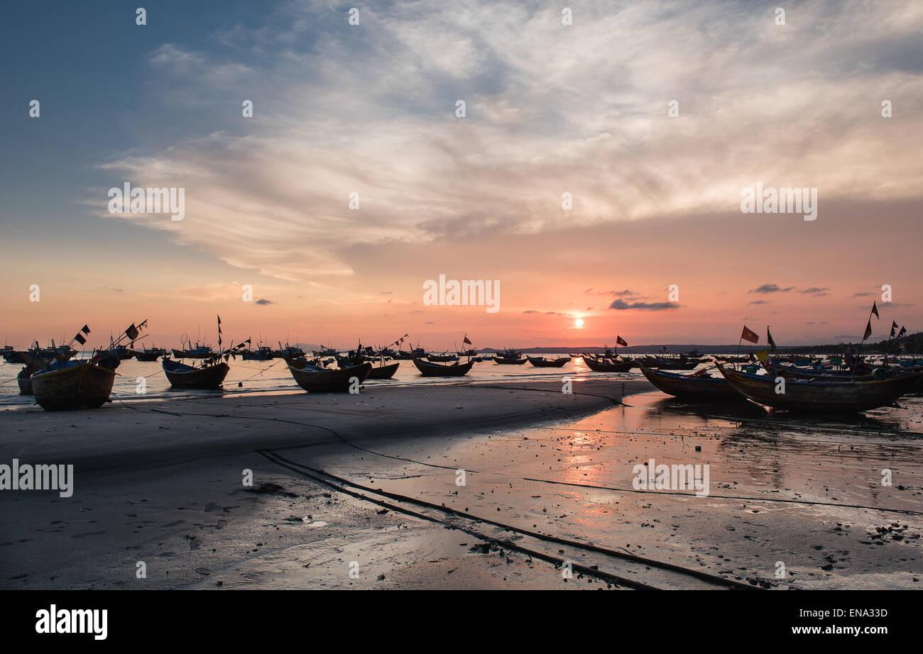 Mui Ne Fishing Village At Sunset - Stock Image