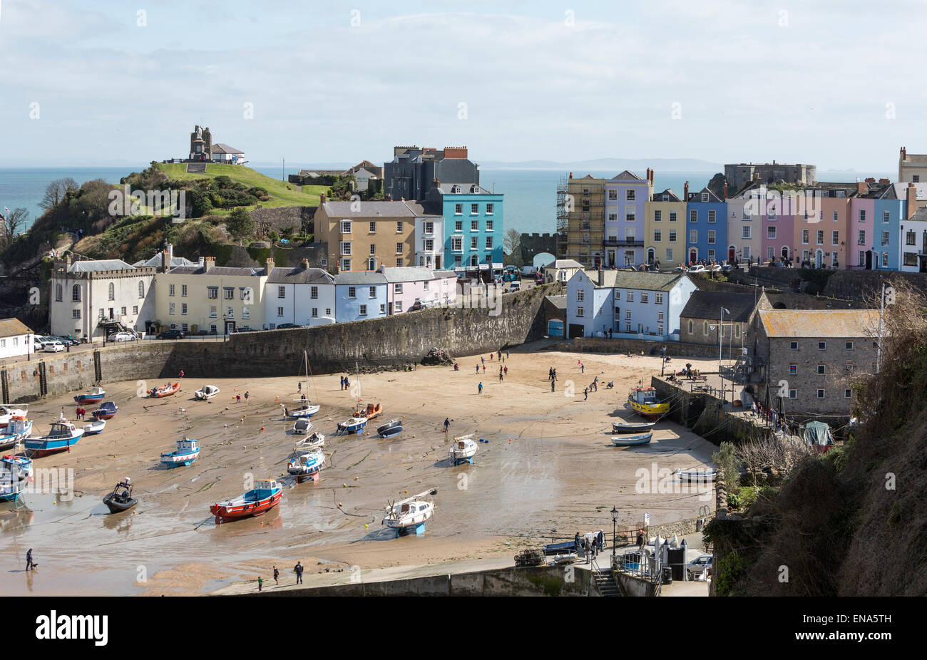 Tenby harbour beach, Pembrokeshire, Wales, United Kingdom - Stock Image