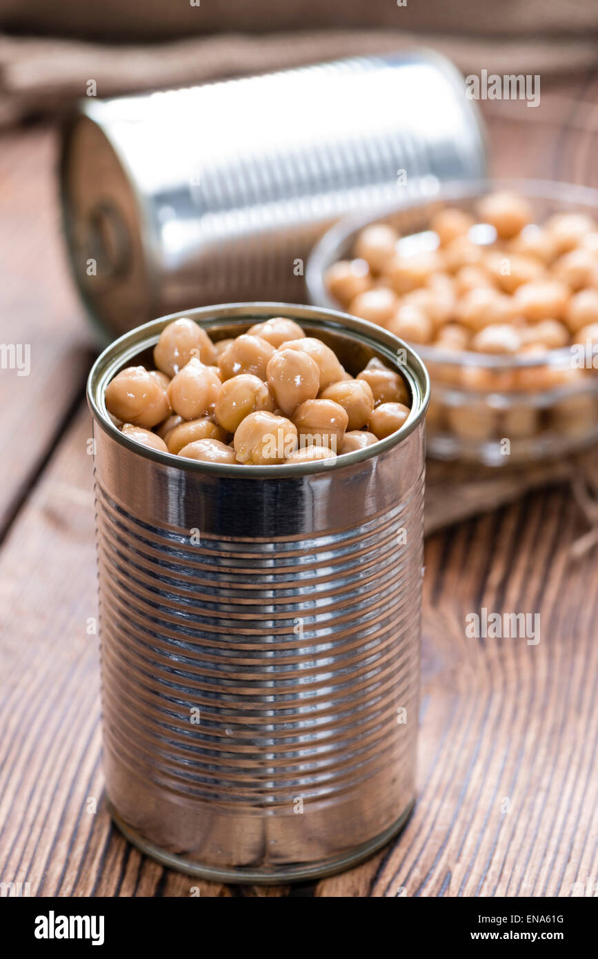 Portion of preserved Chick Peas (close-up shot) - Stock Image