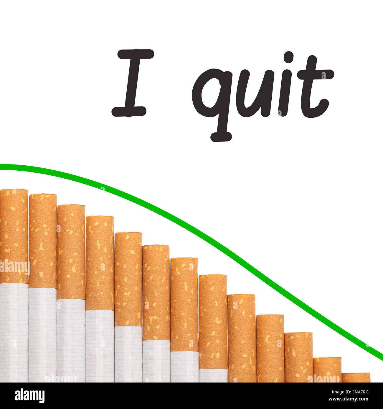 Quit smoking text with a graph of cigarettes and a red down trend line. - Stock Image
