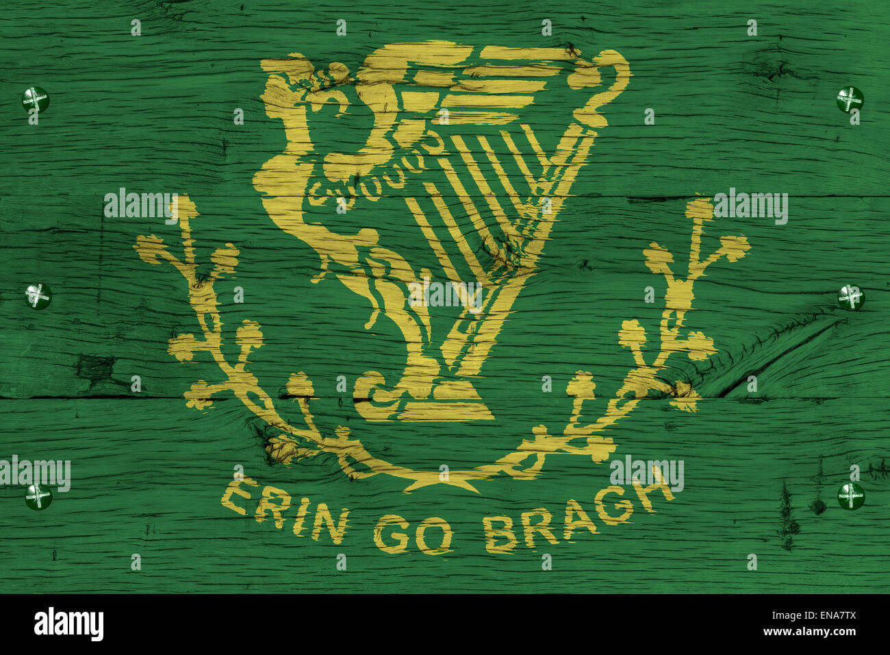 Erin go bragh irish ireland flag painting is colorful on wood of erin go bragh irish ireland flag painting is colorful on wood of old train carriage fastened by screws or bolts m4hsunfo