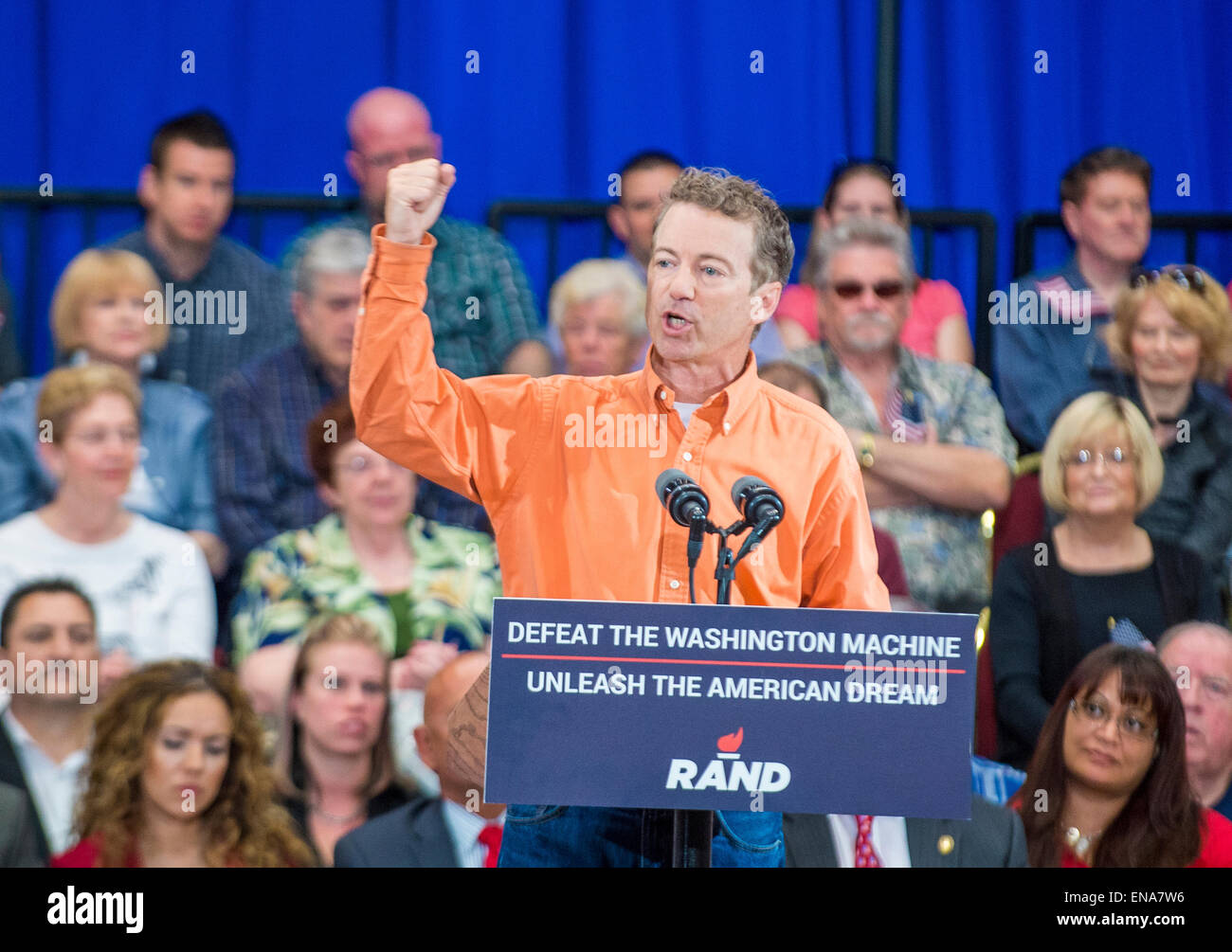 Republican presidential candidate U.S. Sen. Rand Paul speaks during a rally in Las Vegas - Stock Image