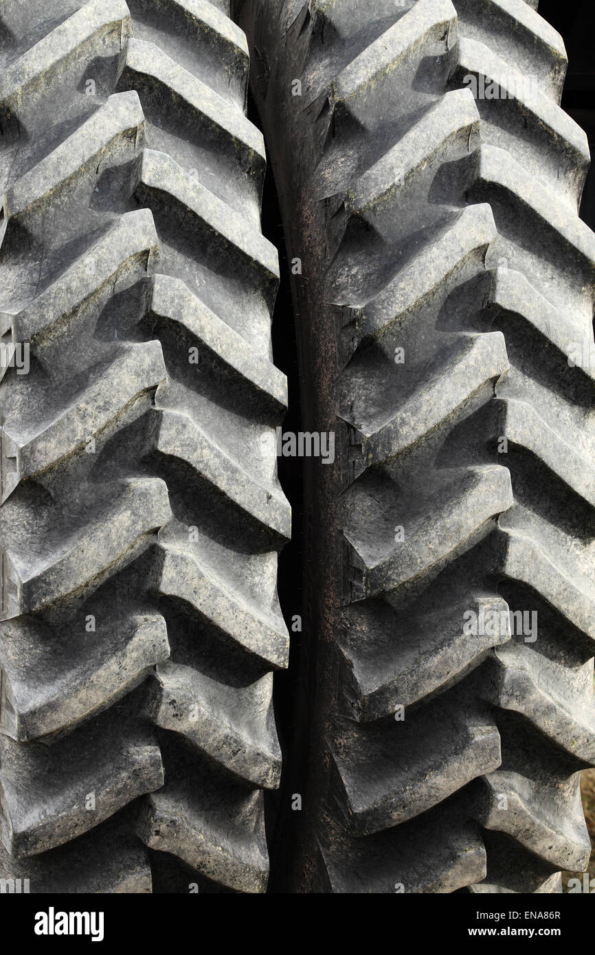 The tread of a tractor tire - Stock Image