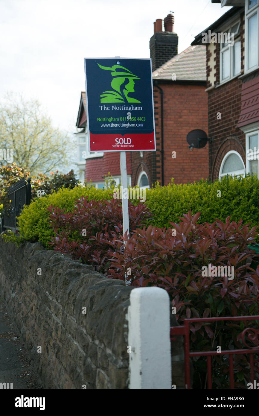 Nottingham, UK. 30, April, 2015. For sale signs outside Nottingham Homes © Denise Maxwell / Alamy Live News - Stock Image
