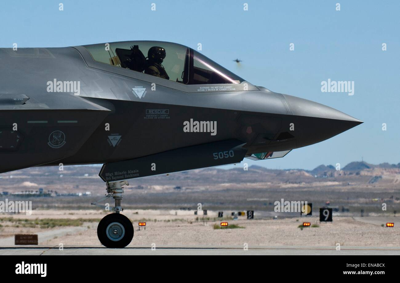 A US Air Force F-35 Lightning II fighter aircraft prepares to take off at Nellis Air Force Base April 15, 2015 in - Stock Image