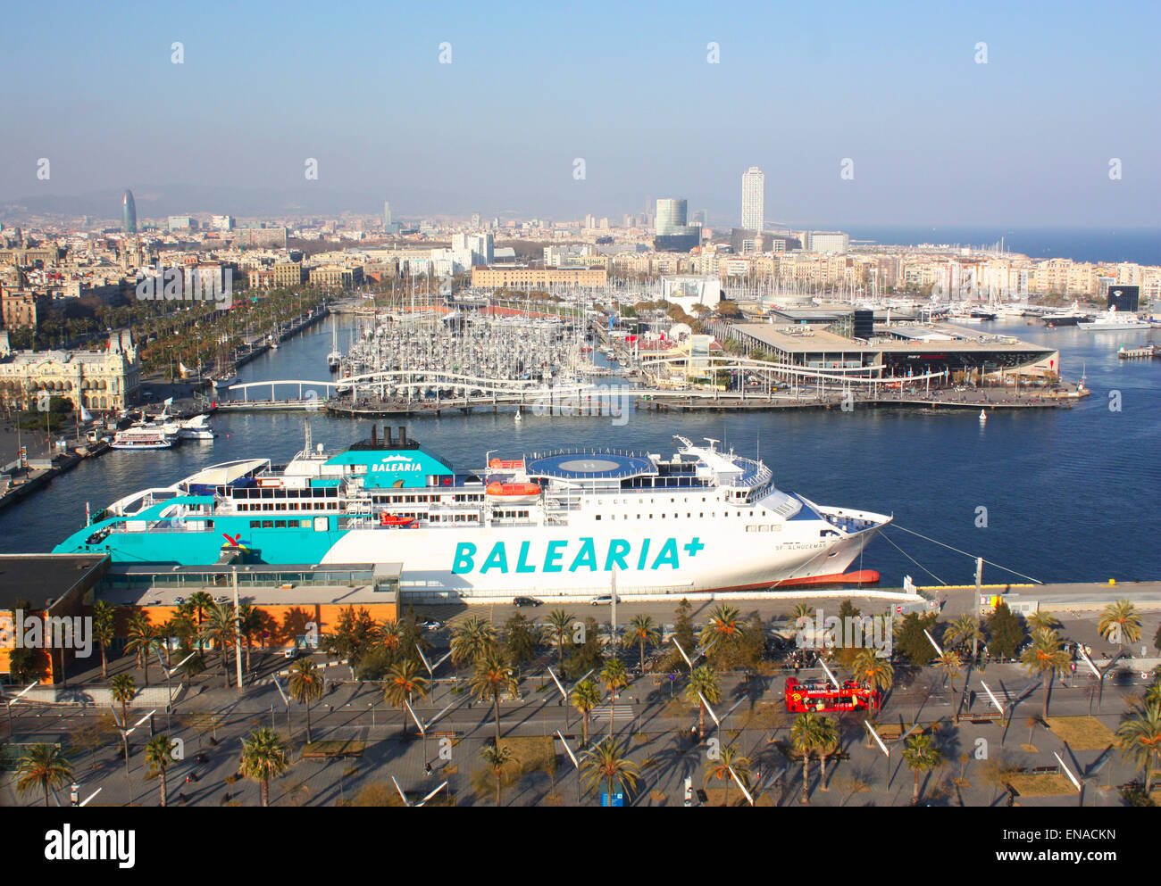 Balearia ship in Barcelona, Spain harbour Stock Photo
