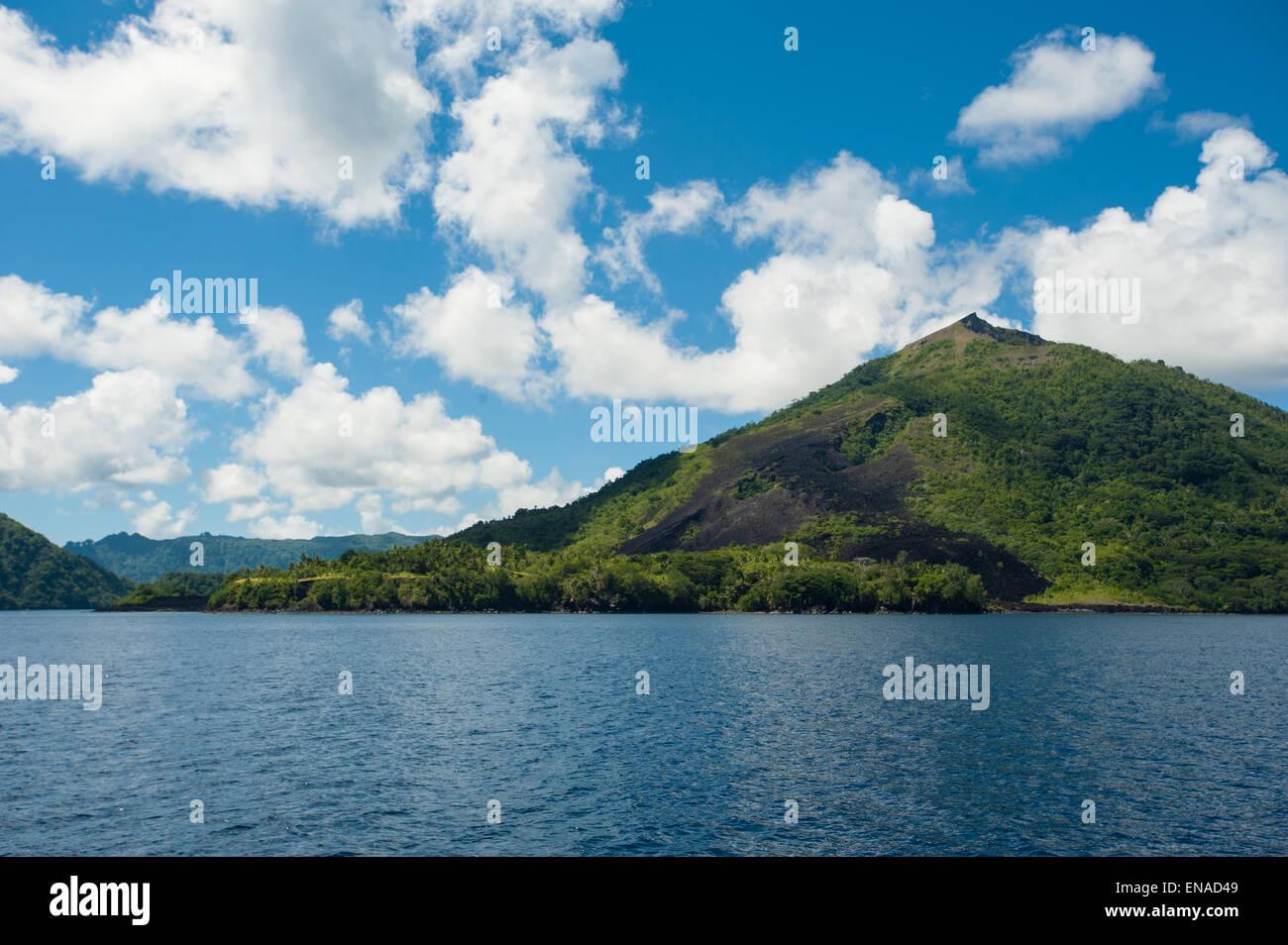 The active island volcano of Banda in the Maluku province Indonesia - Stock Image