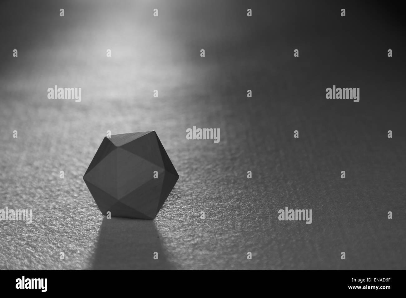 A regular icosahedron - a twenty sided solid figure - one of